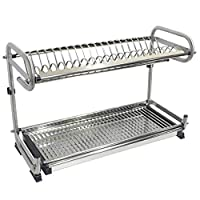 Probrico High Quality 304 Stainless Steel Kitchen Dish Drying Rack 2-Tier Plate Storage Shelf Holder Wall/Floor Mounted DRA03