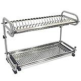 Probrico, scolapiatti di alta qualità in acciaio inox 304da cucina a 2 piani, supporto da parete/da pavimento per piatti DRA03