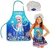 Unbekannt 2 TLG. Set: Kinderschürze + Kochmütze -  Frozen  - incl. Name - Disney die Eiskönigin - Größenverstellbar Schürze / Mädchen - beschichtet völlig unverfroren..