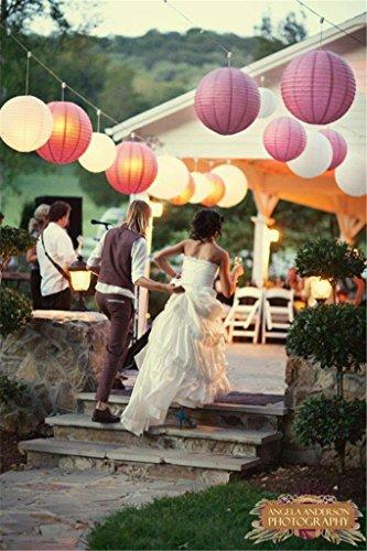 comprare on line SUNBEAUTY 10 Pezzi 10/20/30cm Decorazione di Carta Lanterna per Matrimonio, festa, Party, Rosa prezzo
