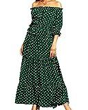 Aox Frauen Casual Schulterfrei Rüschenärmel Polka Dots Print Eine Linie Chiffon Lange Maxi Kleid Sexy Sommer Strandparty Sommerkleid Dame Vestido