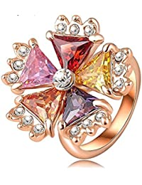 18K Rose Gold Plated SWA Austrian Crystal Multi Color Vintage Enamle Flower Ring For Women By JewelQueen