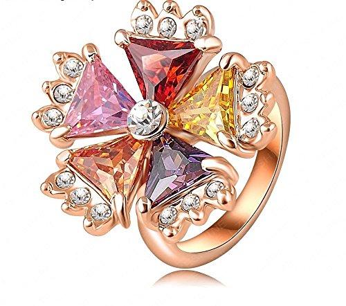 Vintage anello placcato oro rosa autentico cristallo austriaco di SWA fiore multicolore anelli gioielli per (Anello Fiore Crystal Rose)