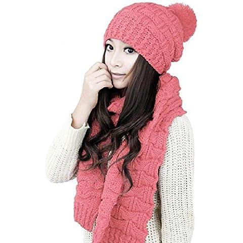 Tongshi 1Ajuste Mujeres bufanda del mantón de la capilla caliente de lana de punto Caps Sombreros Traje (rosa)