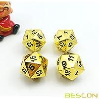 Reihe 4 DELUXE Goldene Solide Metall Polygonal Würfel Spielwürfel Würfeln W20, Gold Metallic 20 Seiten Polyedrische Dice 4 Stücke