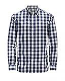 JACK & JONES Herren Hemd JJEGINGHAM Shirt L/S, Größe:L, Farbe:White Mixed Navy
