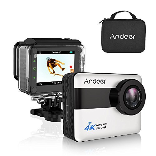 "Andoer Action Cam 4K WiFi Full HD 1080P 20MP Grande Touchscreen LCD da 2.31 "" Impermeabile 30m Subacqueo Action Sport Camera con Custodia Impermeabile e Kit Accessori per Sport Esterni"