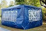 Xinng 3x4M PE Pavillon Hochleistungs wasserdichte Hochzeitsfestzelt Pavillion Gartenzelt Baldachin mit Abnehmbaren Seitenwänden (Blau)