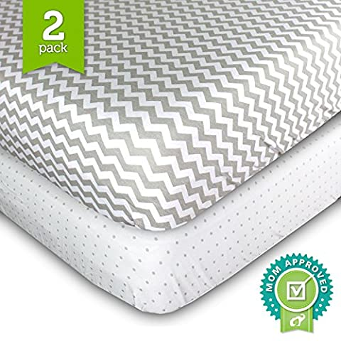 Crib Cot Sheets Set - 2 Pack - Fitted, Soft Jersey Cotton Crib Mattress Sheet - Baby Bedding in Grey Chevron & Polka Dot by Ziggy Baby -