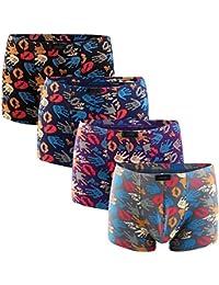 3a68a6710aa 4Pcs Lot Mens Underwear Colorful Boxers Cotton Boxer Men Printed Boxer  Shorts Boxers Mens Underwear Plus…