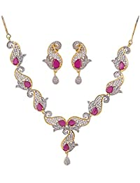 IGP Fashion Jewellery Gold Plated Stylised American Diamond And Fuschia Pink Stone Studded Alluring Necklace With...