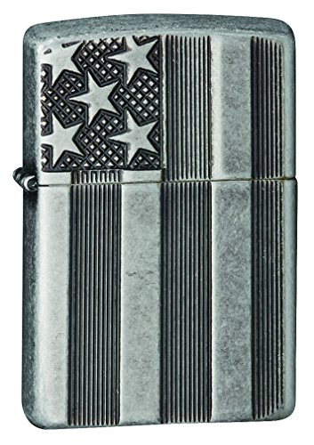 Zippo 15281 Feuerzeug Stars and Stripes, Choice Collection 2015 / 2016, Antique Silver Plate Armor, Deep Carve
