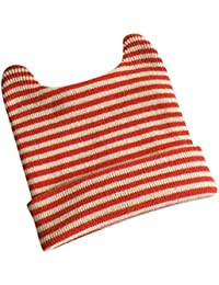 Bonnet Bébé - Enfant Crochet Stripe Casquette Chaud Avec Oreilles - hibote dd4bdb1726e
