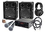 McGrey DJ Karaoke Komplettset PA Anlage Party-1200 (System mit Partyboxen, Lautsprecher, 2 x 400 Watt, Bluetooth-Endstufe, Verstärker, Lautsprecherkabel, Kopfhörer, Mikrofon, Klemme, Reduziergewinde, Etui, Mikrofonkabel)
