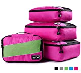 Packing Cubes - 4 pc Value Set Luggage Organizer + Bonus Shoe Bag Included - Lifetime Guarantee - By Bingonia Travel Accessories - Pink