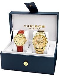 Akribos XXIV Set de 2 relojes AK884YG