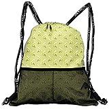 Kotdeqay Personalized Seamless Banana Drawstring Sports Nackpack with Mesh Pocket Cinch Bags