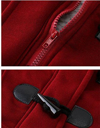 Femme Manteaux à Capuche Gilet Bouton épais Blouson épais pull à capuche Sweatshirt à capuche pardessus Rouge