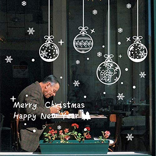Weihnachten Fenstersticker, Schneeflocken Aufkleber, Fensterbilder Statisch Haftende PVC-Sticker Weihnachten Fensterdeko Aufkleber Wandtattoo [Wiederverwendbar] Weihnachten Fensterdeko Set (Ball)