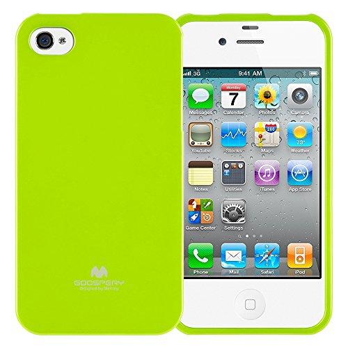 Goospery Marlang Marlang iPhone 4/4S Hülle, Gratis Displayschutzfolie [Slim Fit] TPU Fall [Flexibel] Pearl Jelly [Schutz] Bumper Cover für Apple iPhone 4S, Lindgrün 4s Pearl Case Iphone