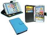 Huawei Ascend G610 // Buchtasche Hülle Case Tasche Wallet BookStyle mit STANDFUNKTION Blau @ Energmix