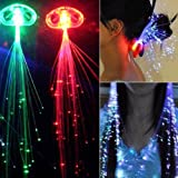 Stonges 10x LED Light Up Hair Extensions Pinza de pelo de fibra óptica (en colores aleatorios)
