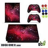 Xbox One X Skin Sticker, Morbuy Sternenklarer Stil Designfolie Vinyl-Folie Aufkleber für Konsole + 2 Controller Aufkleber Schutzfolie Set +10 pc Silikon Thumb Grips (Rote Wiedergabe)