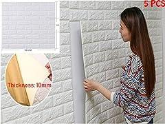 Idea Regalo - 5 pezzi 77*70cm 3D Carta da Parati Mattoni Autoadesiva Wallpaper Brick Adesivi Murali Muro