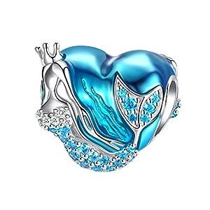 Meerjungfrau Charms für Armbänder , 925 Sterling Silber Charms Bead Herzform Blaue Emaille Perle Charm für Europäische Schlangen Anhänger Halskette Frauen Mädchen Geschenk FQ0031