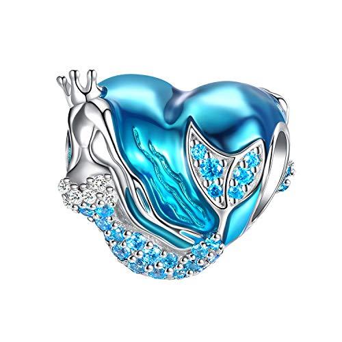 Forever queen ciondolo sirena per bracciale, ciondolo di perline argento sterling 925 cz a forma di cuore perline smalto blu ciondolo oceano mare per bracciali braccialetti collana