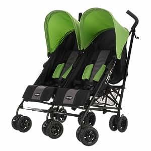 Obaby Apollo Black & Grey Twin Stroller (Lime)
