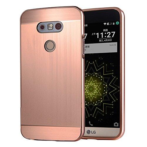 Casefashion® Tasche Hülle für LG G5 Luxury Metal Aluminum Frame Bumper Detachable mit Ultra-Thin Mirror Effect Hard Back Case 2 in 1 Cover - Rose Gold