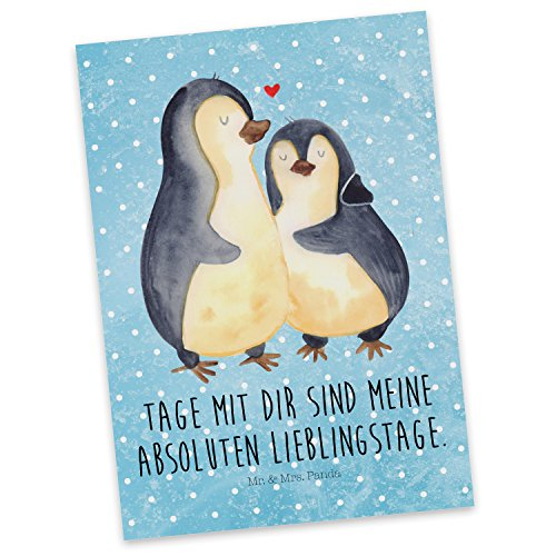 Mr. & Mrs. Panda Postkarte Pinguin umarmend - 100% handmade in Norddeutschland - Pinguin, Hochzeitstag, Einladung, Hochzeitsgeschenk, Karton, Liebe, Liebesbeweis, Jahrestag, Geschenkkarte, Papier, Postkarte, Hochzeit