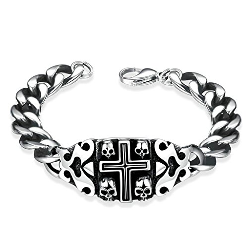 Acier Inoxydable Bracelet, Homme Bracelet Argent Crâne de Croix Epinki