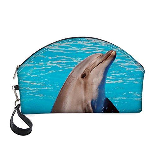 nopersonality Große Kosmetiktasche, Animal Druck PU-Leder Tragbar Organizer blau Delfin - Parfüm Moon