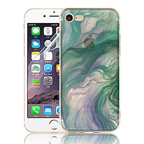 Ultra Sottile Custodia per iPhone 7 Plus iPhone 7 Plus, Cover per iPhone 7 Plus, Sunroyal Creativa Wave Cover Morbido Flessibile TPU Silicone Gel Protettivo Skin Caso Custodia Protettiva Shell Case Co Model 08