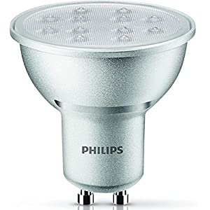 Philips GU10-LED-Spot, 5,5W, Glas, dimmbar, Ersatz für 50-W-Halogen-Spot, Warmweiß