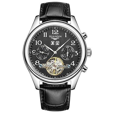 guanqin Luxe hommes classique en acier inoxydable et en cuir véritable bracelet self-wind automatique cadran noir analogique montre bracelet