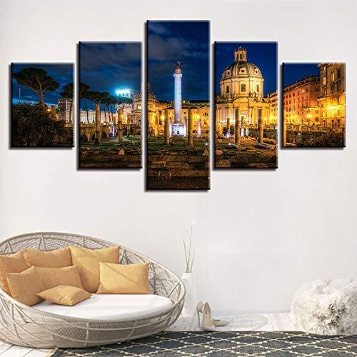 lsweia mit Holzrahmen/ohne HolzrahmenLeinwand HD Drucke Malerei Wohnkultur Bilder 5 Stücke Trajans Forum Gebäude Nacht Landschaft Poster Modulare Wohnzimmer