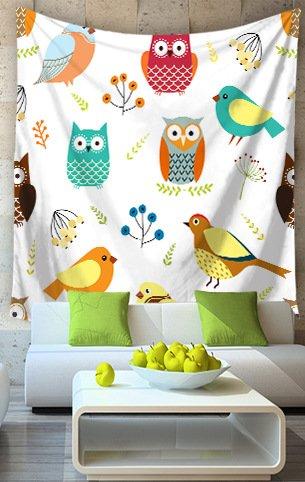 LNPP Cartoon Owl Decor Tapisserie Wandbehang Boho Mandala Tapisserie Tagesdecke Wandkunst Collage Wohnheim , lt-1005-10 , 200*150 Owl Decke Werfen