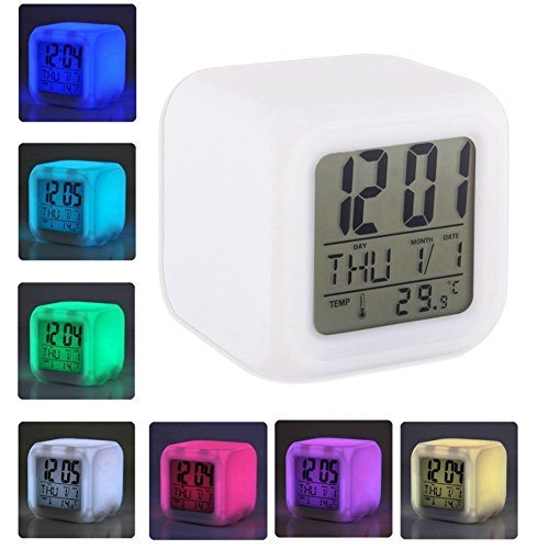 Pink Pari Multicolor Cube LED 7 Color Changing Digital Alarm Clock - With Temperature + Day + Month + Date + Time + Alarm (7.5 Cm x 7.5 Cm)  available at amazon for Rs.447