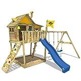 WICKEY Parco giochi in legno Smart Monkey Giochi da giardino con altalena e scivolo blu, Casetta su palafitte da gioco con sabbiera per bambini