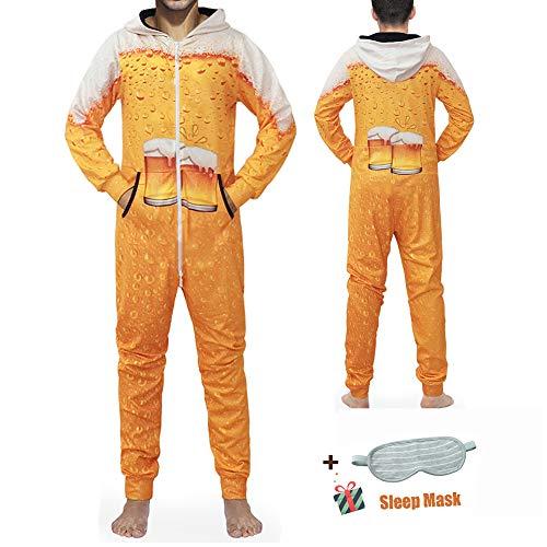 Morbuy Herren Jumpsuit Schlafanzug, Kapuzenpullover Strampelanzug 3D Printed Onepiece Sweatshirt Männer Strampler Weich Nachtwäsche Fitness Bekleidung Overall (M, Gelbes Bier)