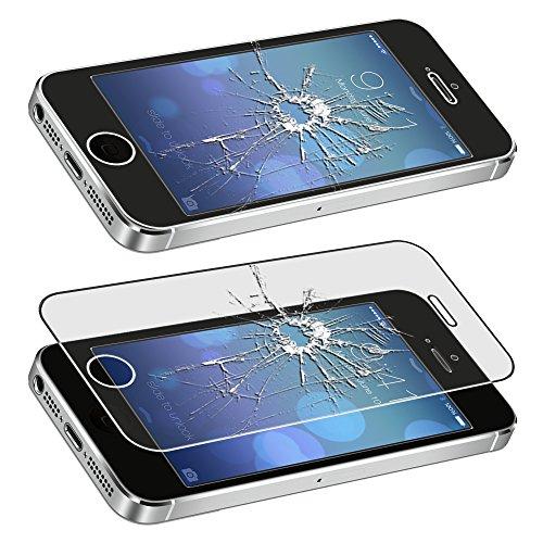 ebestStar - pour Apple iPhone SE 5S 5 - Lot x3 Housse Etui Coque Silicone Gel Portefeuille + Film protection écran en VERRE Trempé, Couleur Transparent, Violet, Rose [Dimensions PRECISES de votre appa Transparent, Noir, Bleu