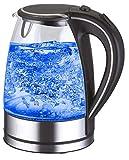 Wasserkocher Edelstahl Glas 1,7 Liter|2000W| blaue LED Innen-Beleuchtung 360 Grad, kabellos, Kalkfilter, BPA Free, schwarz