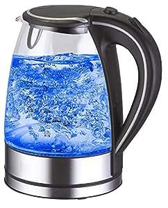 wasserkocher edelstahl glas 1 7 liter 2000w blaue led innen beleuchtung 360 grad kabellos. Black Bedroom Furniture Sets. Home Design Ideas