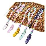 Baby Schnullerketten 5 Stück mit Clip und Druckknopf 5 Stufe verstellbare Länge Schnullerhalter