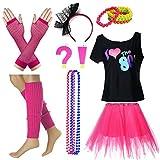 Fun Daisy Clothing Damen I Love The 80er Jahre T-Shirt 80er Jahre Outfit Zubehör, Hot Pink - UK 12-14 / S-M
