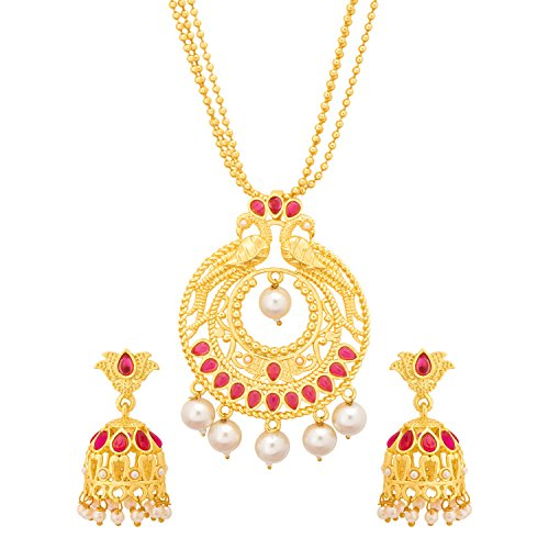Voylla Traditional Brass Pendant Sets with Pearl Beads Yellow Gold Plating for Women