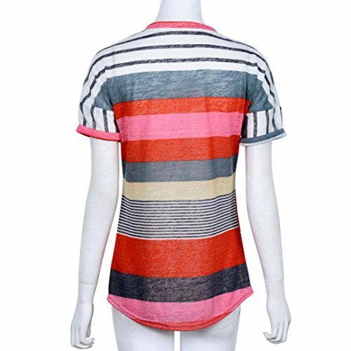 WOCACHI Mode Frauen Sommer locker Top Kurzarm Lichtdurchlässig Bluse Damen Casual Tops T-Shirt Rot